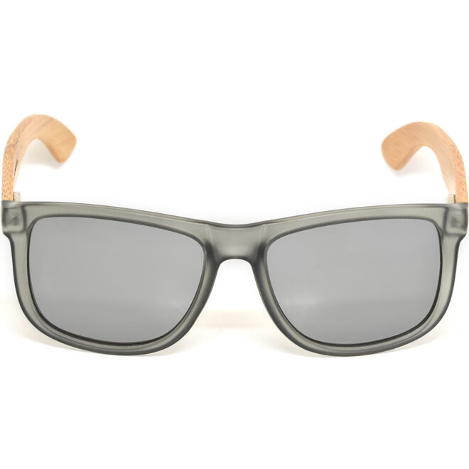 Square bamboo wood sunglasses silver mirrored polarized lenses acetate front frame