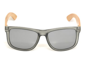 Square bamboo wood sunglasses with silver mirrored polarized lenses front