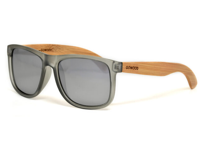 Square bamboo wood sunglasses with silver mirrored polarized lenses