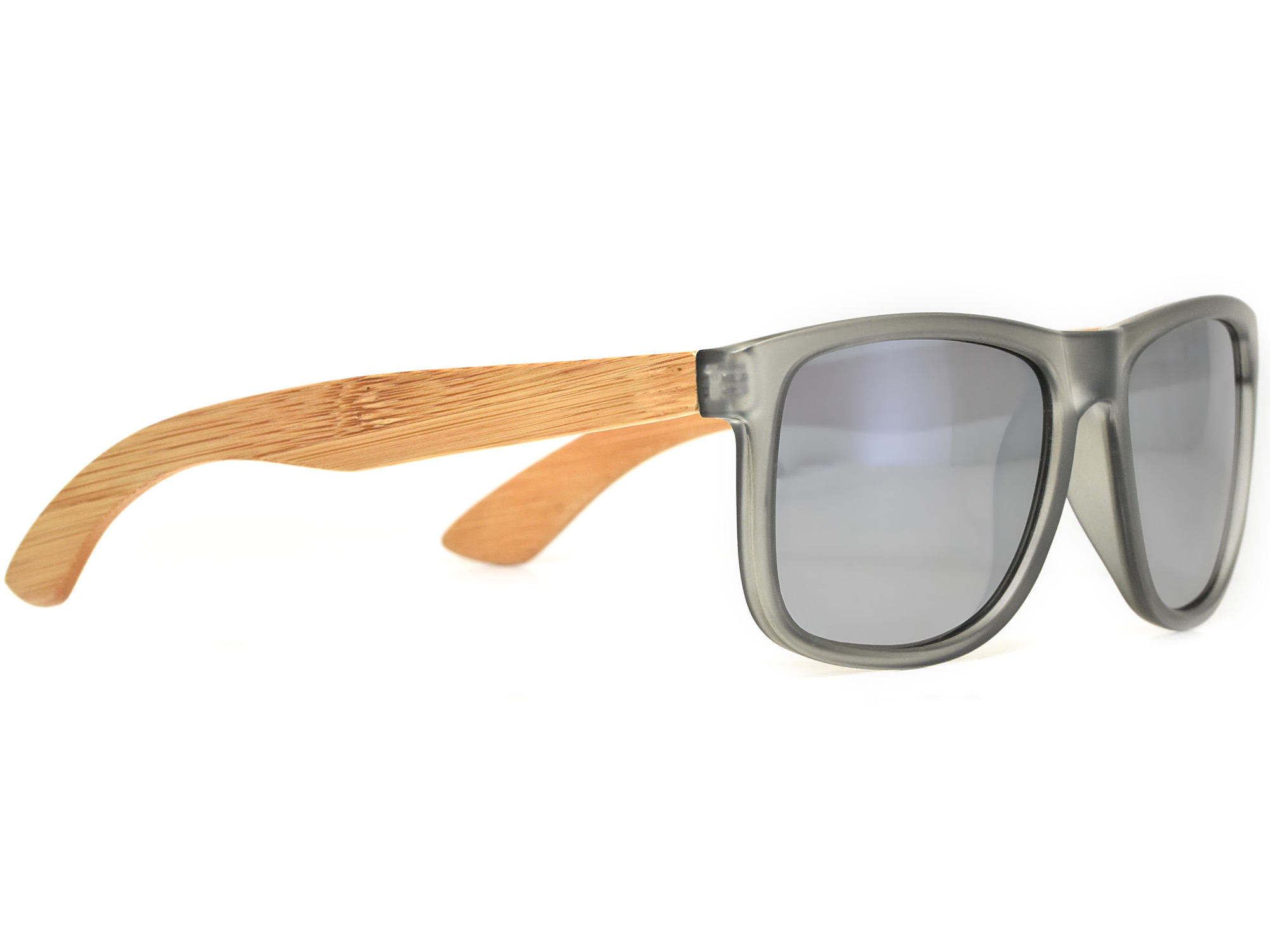 Square bamboo wood sunglasses with silver mirrored polarized lenses right
