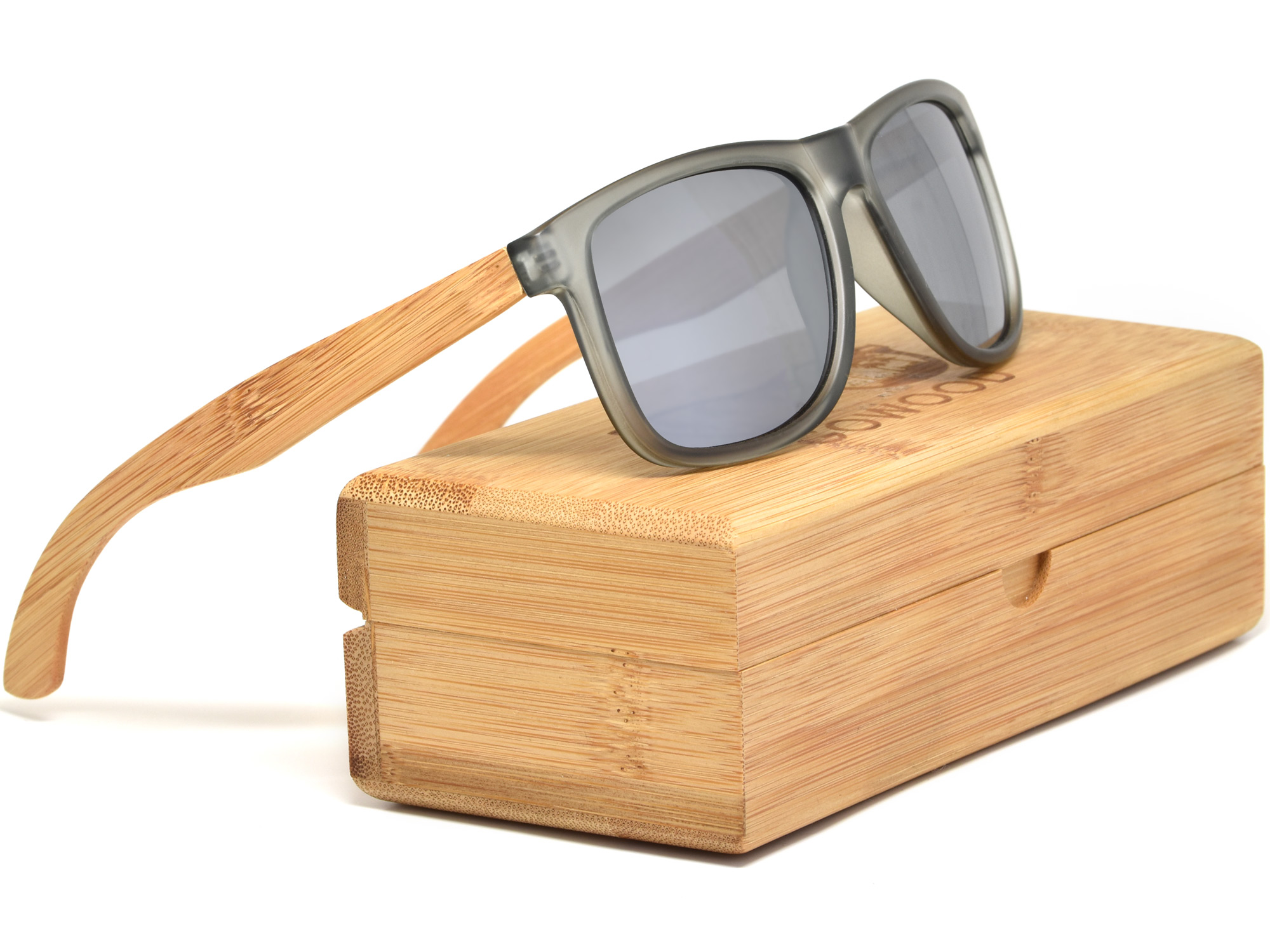 Square bamboo wood sunglasses with silver mirrored polarized lenses set