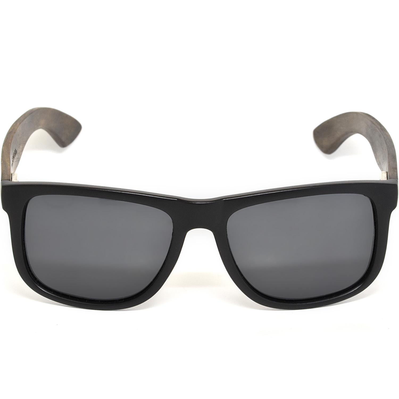 Square ebony wood sunglasses black polarized lenses acetate front