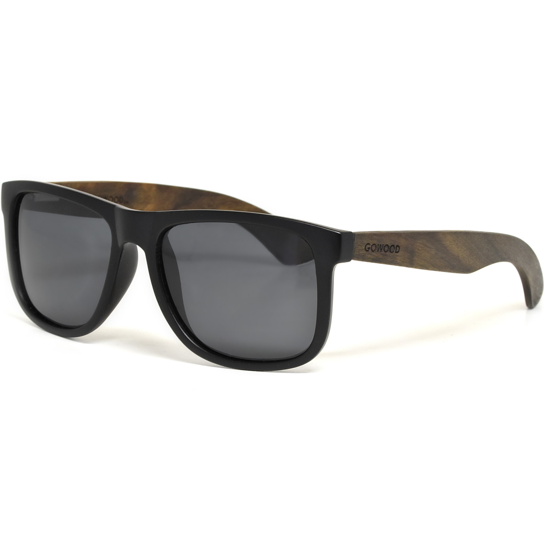Square ebony wood sunglasses black polarized lenses left