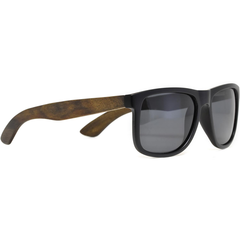 Square ebony wood sunglasses black polarized lenses right