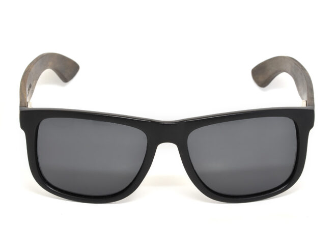 Square ebony wood sunglasses with black polarized lenses front