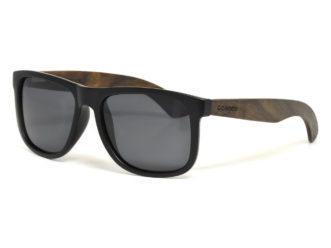 Square ebony wood sunglasses with black polarized lenses