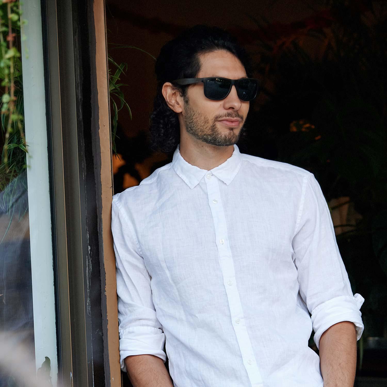 Square ebony wood sunglasses black polarized lenses on men