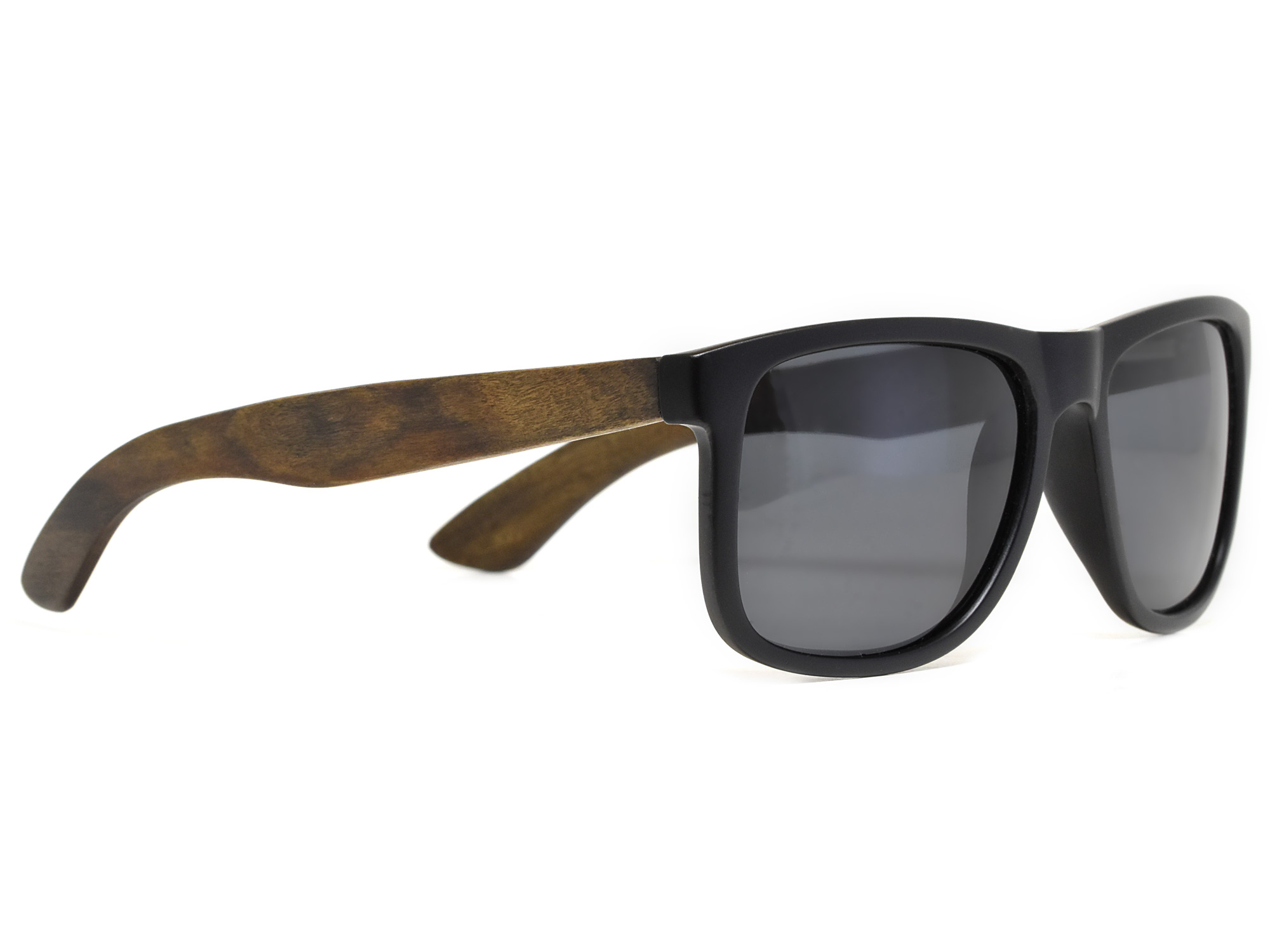 Square ebony wood sunglasses with black polarized lenses right