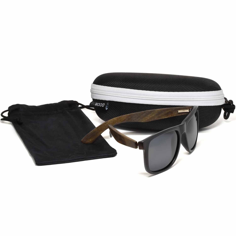 Square ebony wood sunglasses black polarized lenses zipper box set