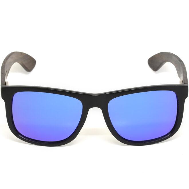Square ebony wood sunglasses blue mirrored polarized lenses acetate front