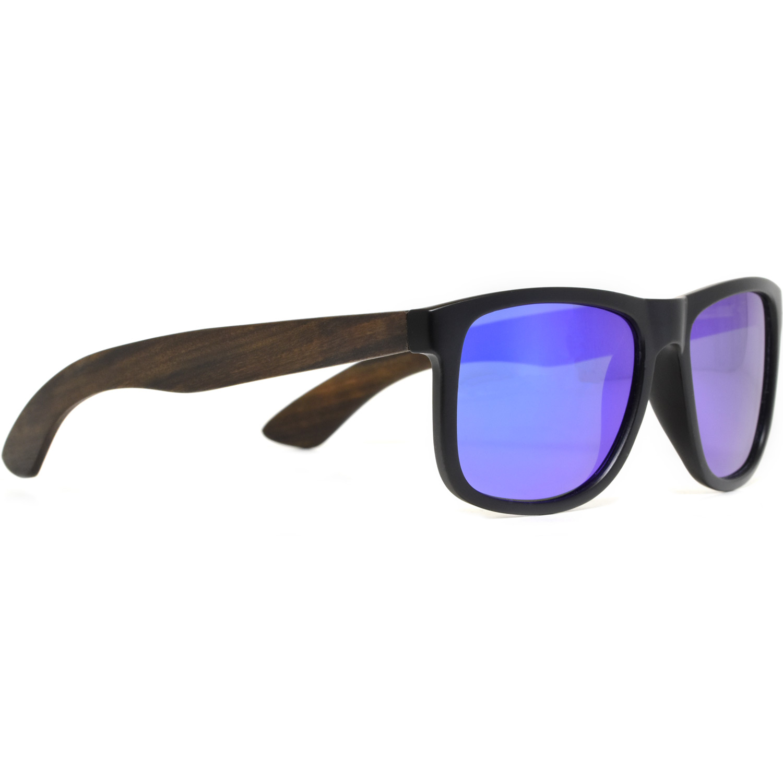 Square ebony wood sunglasses blue mirrored polarized lenses right