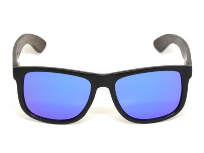 Square ebony wood sunglasses with blue mirrored polarized lenses front
