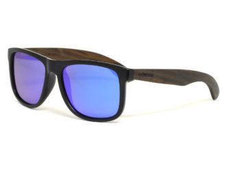 Square ebony wood sunglasses with blue mirrored polarized lenses