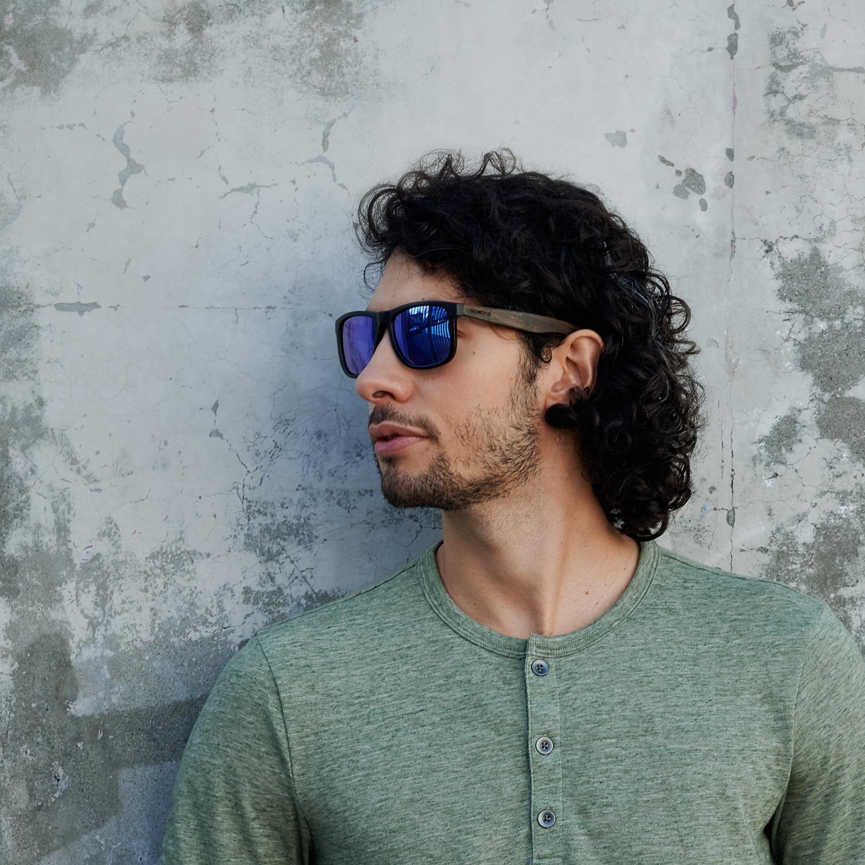 Square ebony wood sunglasses blue mirrored polarized lenses on men