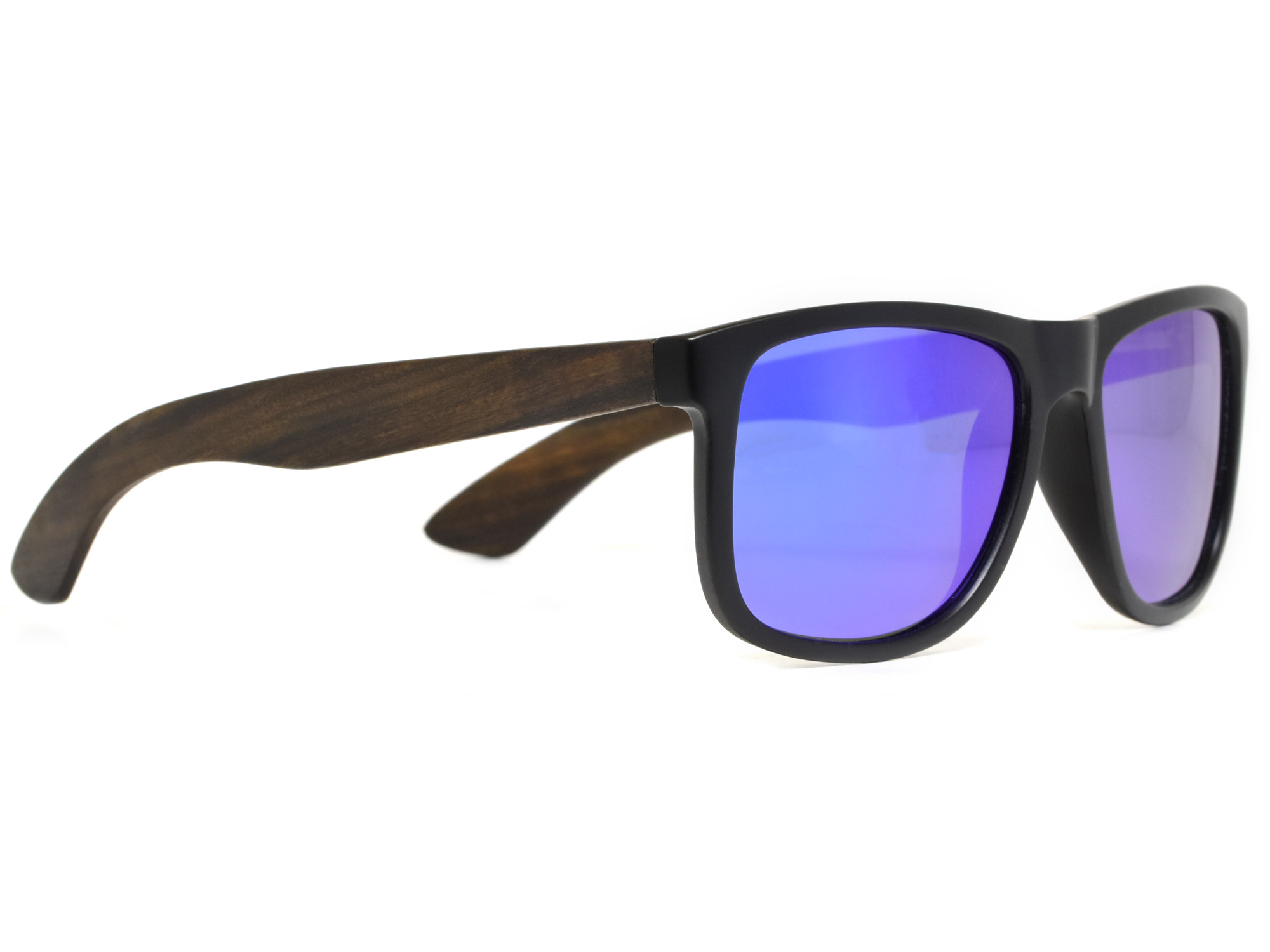 Square ebony wood sunglasses with blue mirrored polarized lenses right