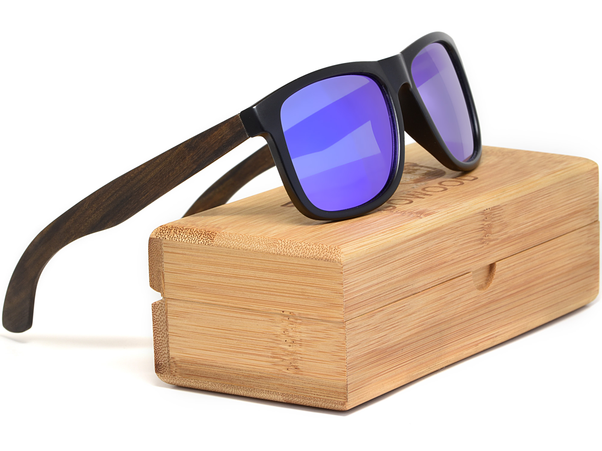 Square ebony wood sunglasses with blue mirrored polarized lenses set
