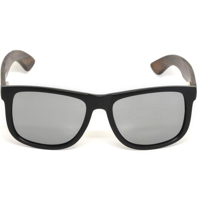 Square ebony wood sunglasses silver mirrored polarized lenses acetate front