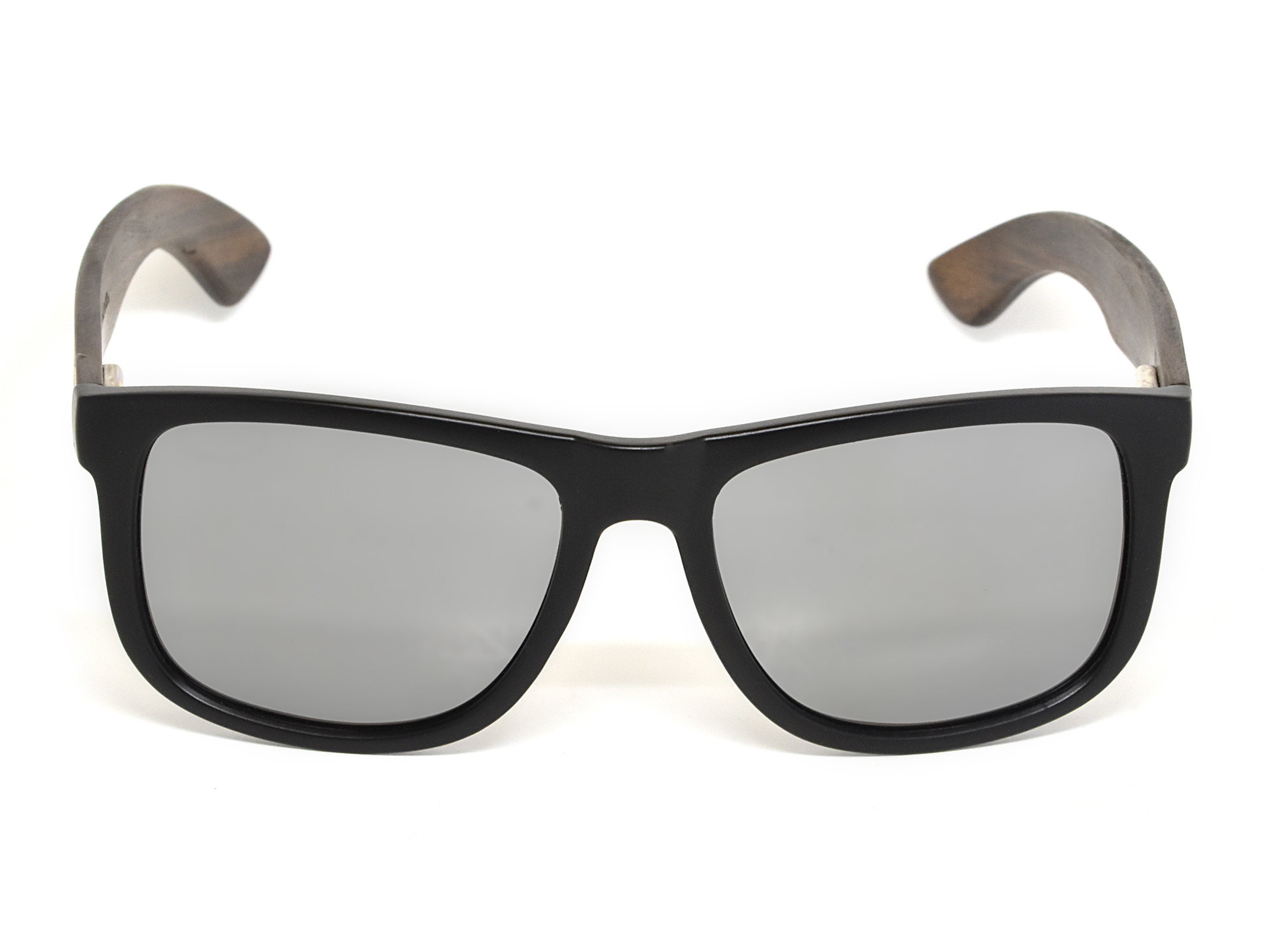 Square ebony wood sunglasses with silver mirrored polarized lenses front