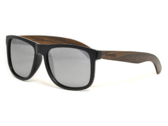 Square ebony wood sunglasses with silver mirrored polarized lenses