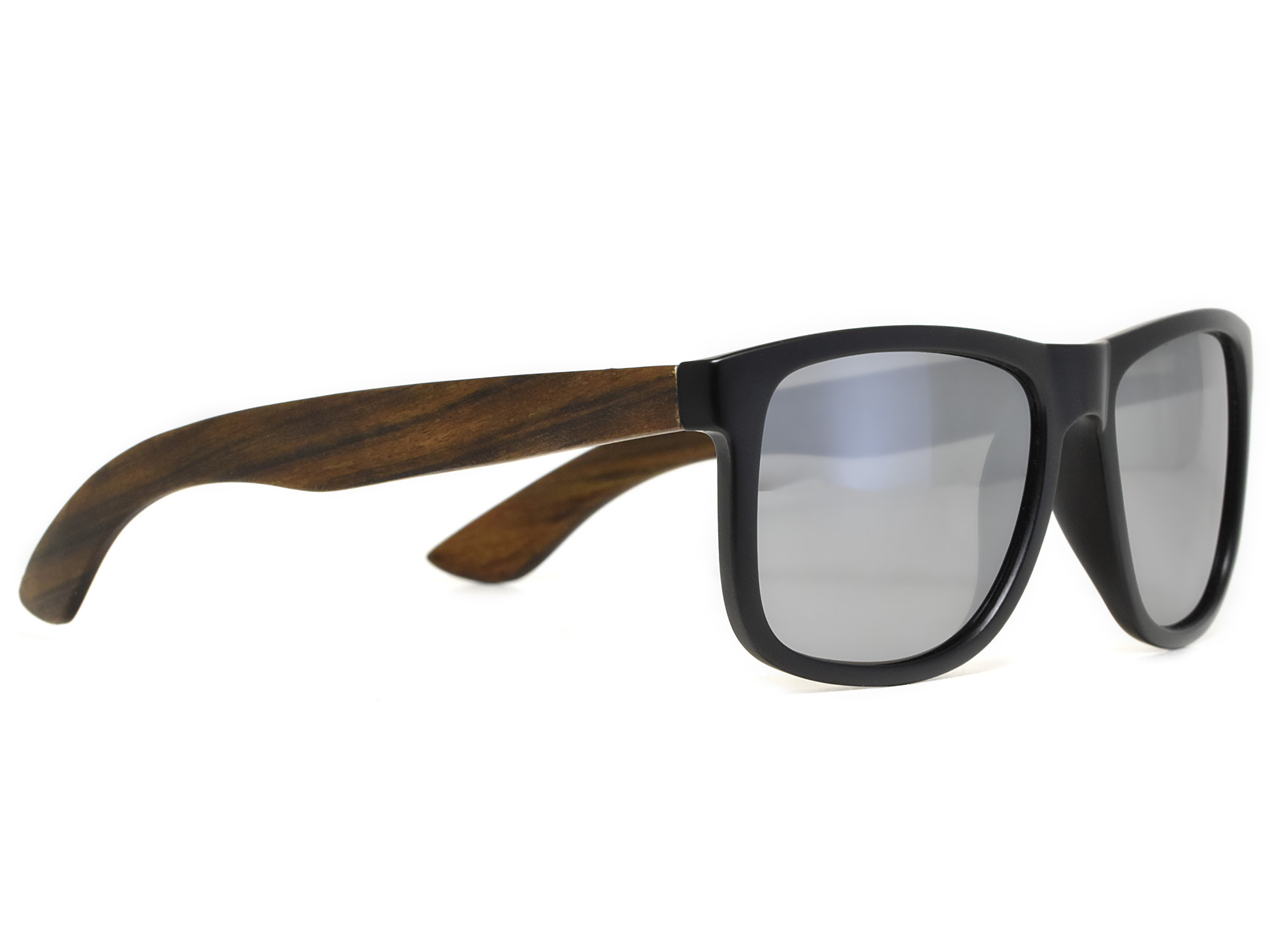 Square ebony wood sunglasses with silver mirrored polarized lenses right