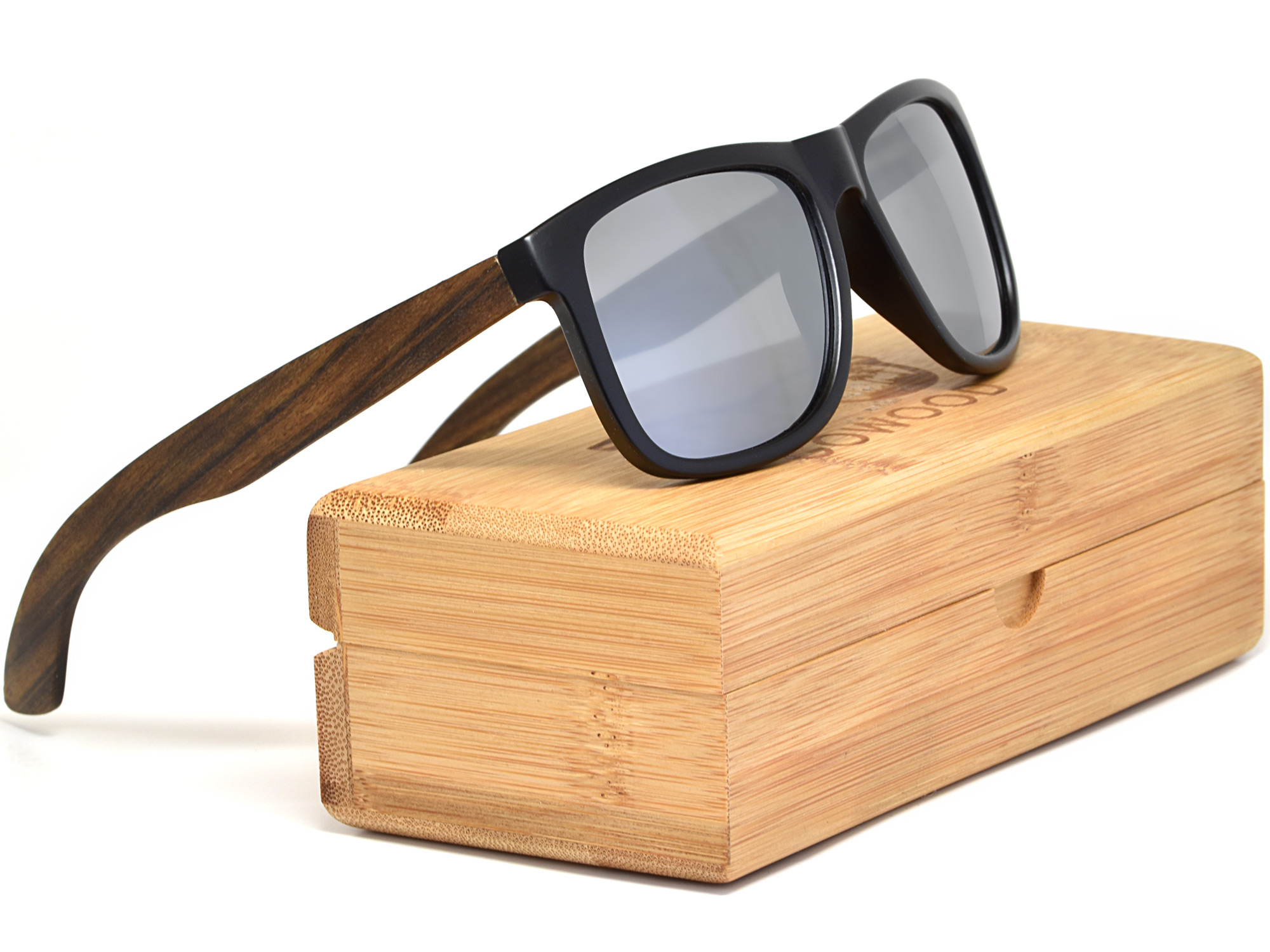 Square ebony wood sunglasses with silver mirrored polarized lenses set
