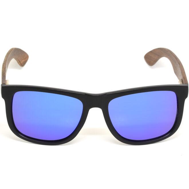 Square walnut wood sunglasses blue mirrored polarized lenses acetate front