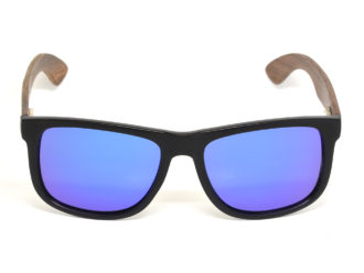 Square walnut wood sunglasses with blue mirrored polarized lenses front