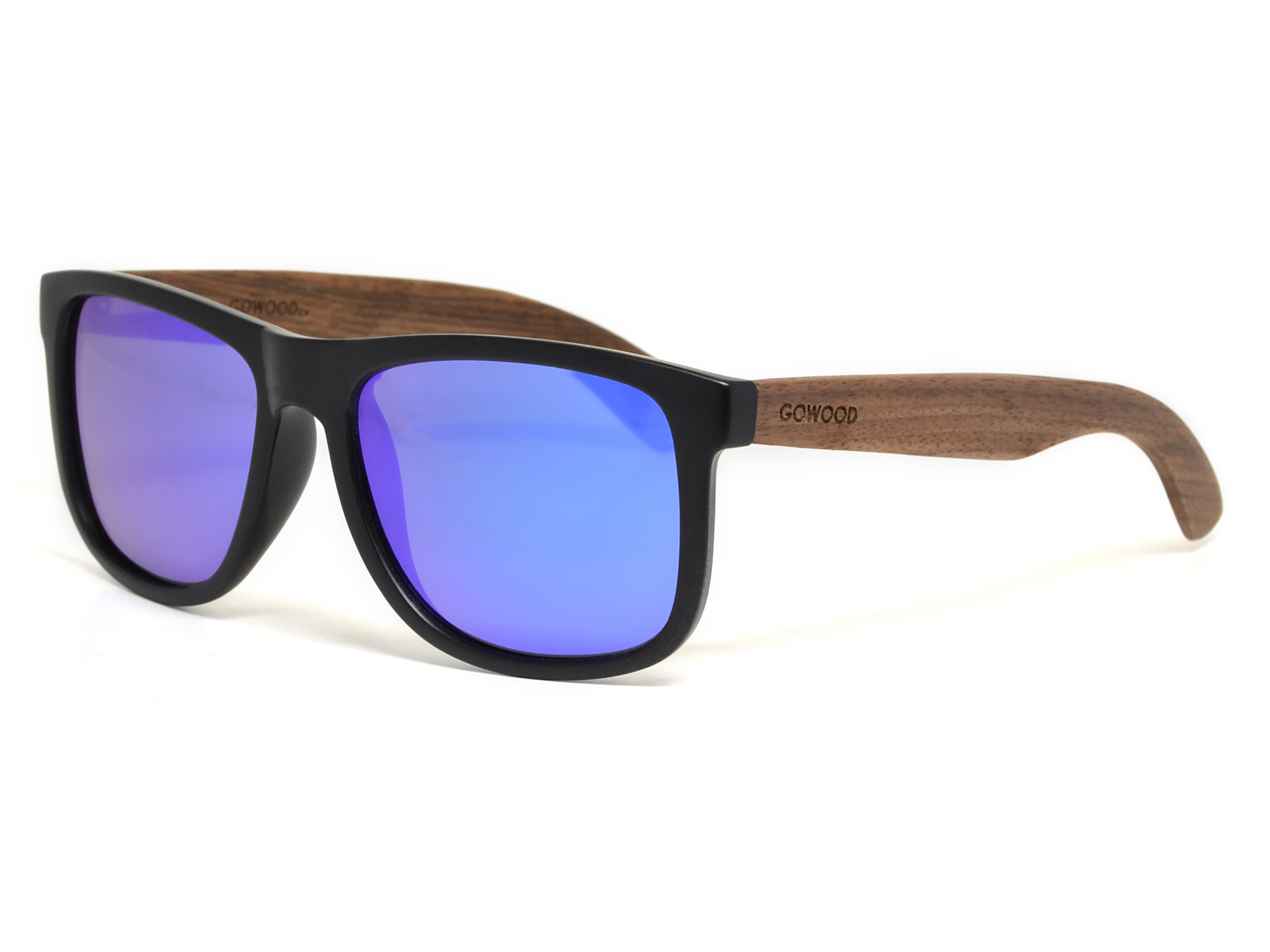Square walnut wood sunglasses with blue mirrored polarized lenses