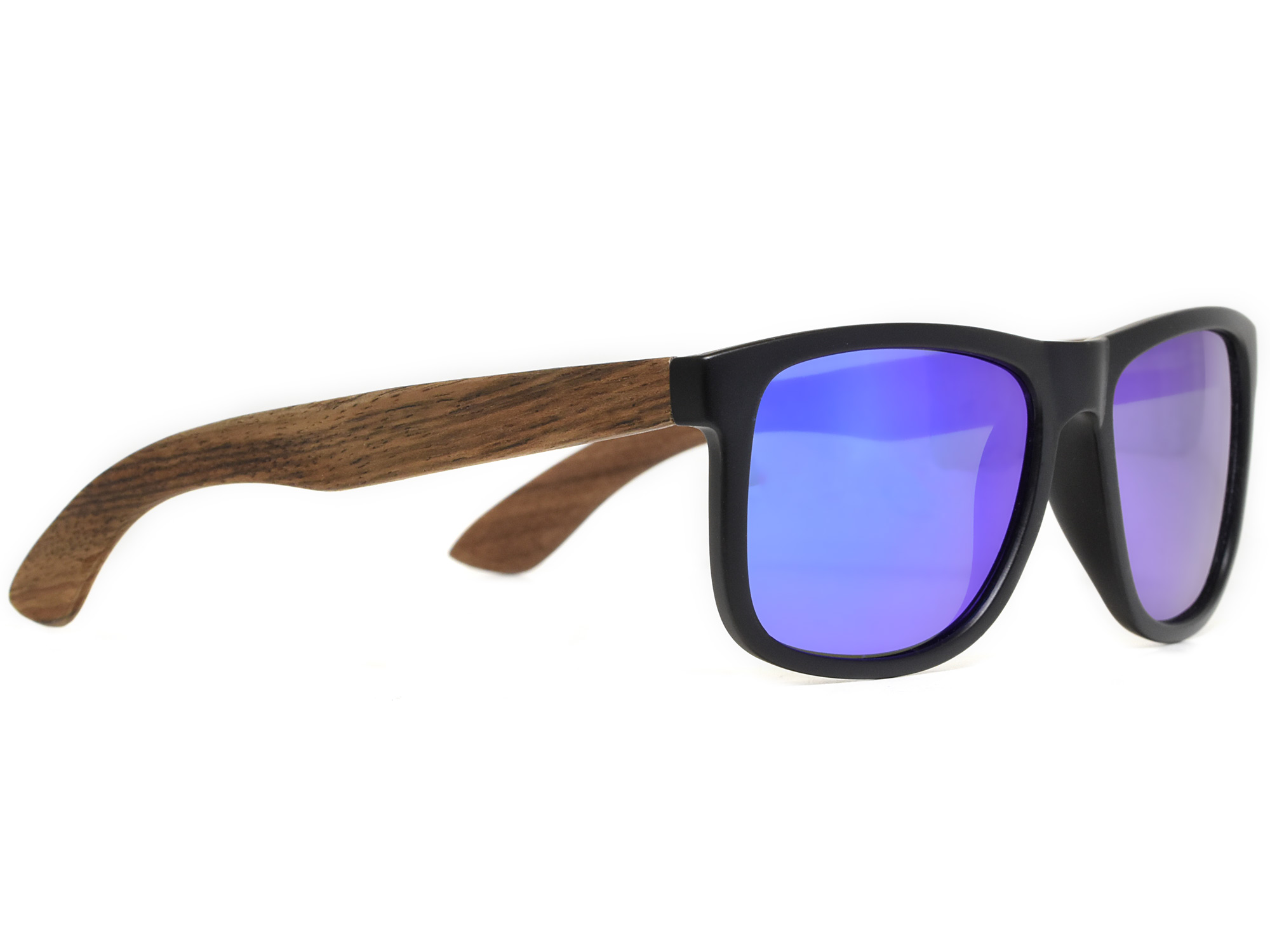 Square walnut wood sunglasses with blue mirrored polarized lenses right