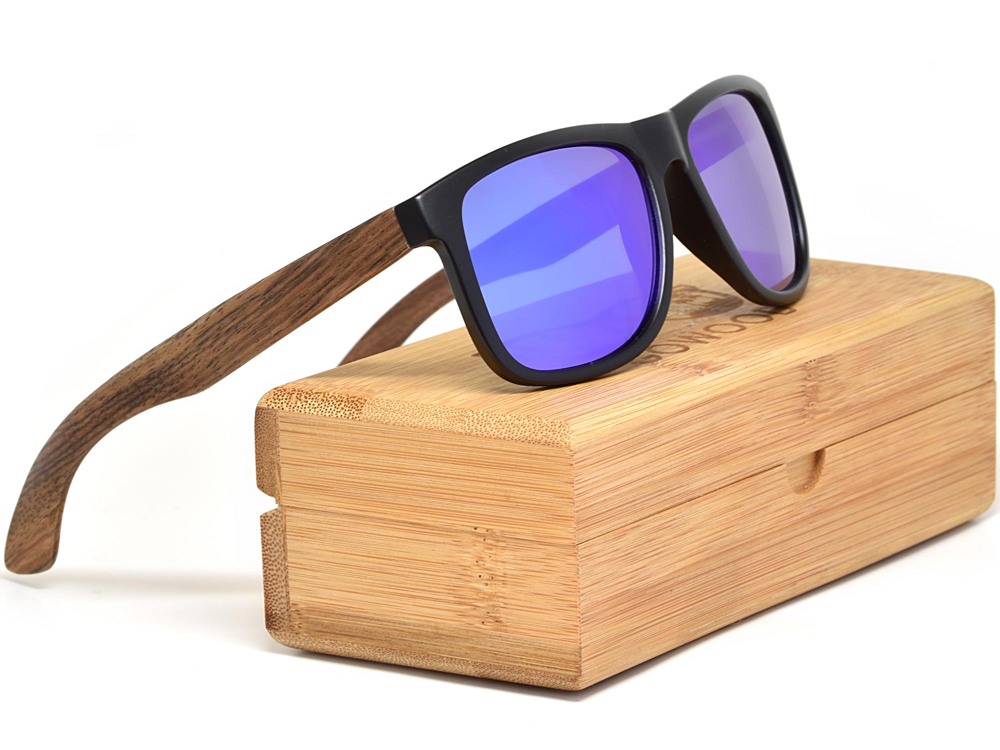 Square walnut wood sunglasses with blue mirrored polarized lenses set