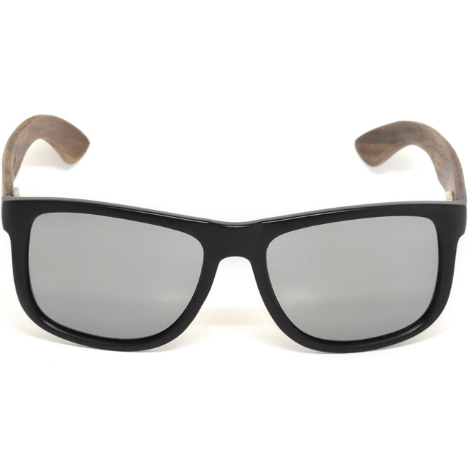 Square walnut wood sunglasses silver mirrored polarized lenses acetate front