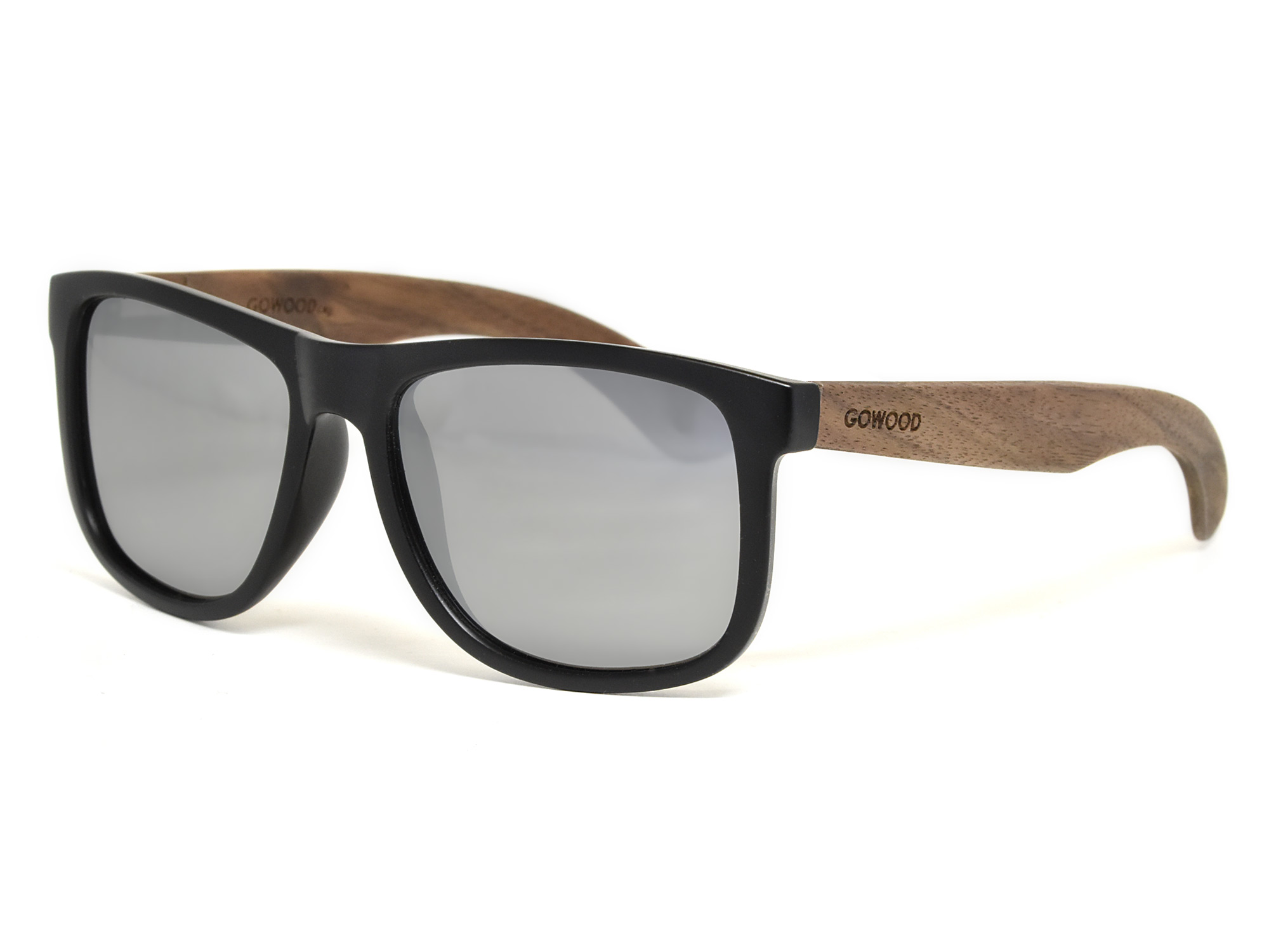 Square walnut wood sunglasses with silver mirrored polarized lenses