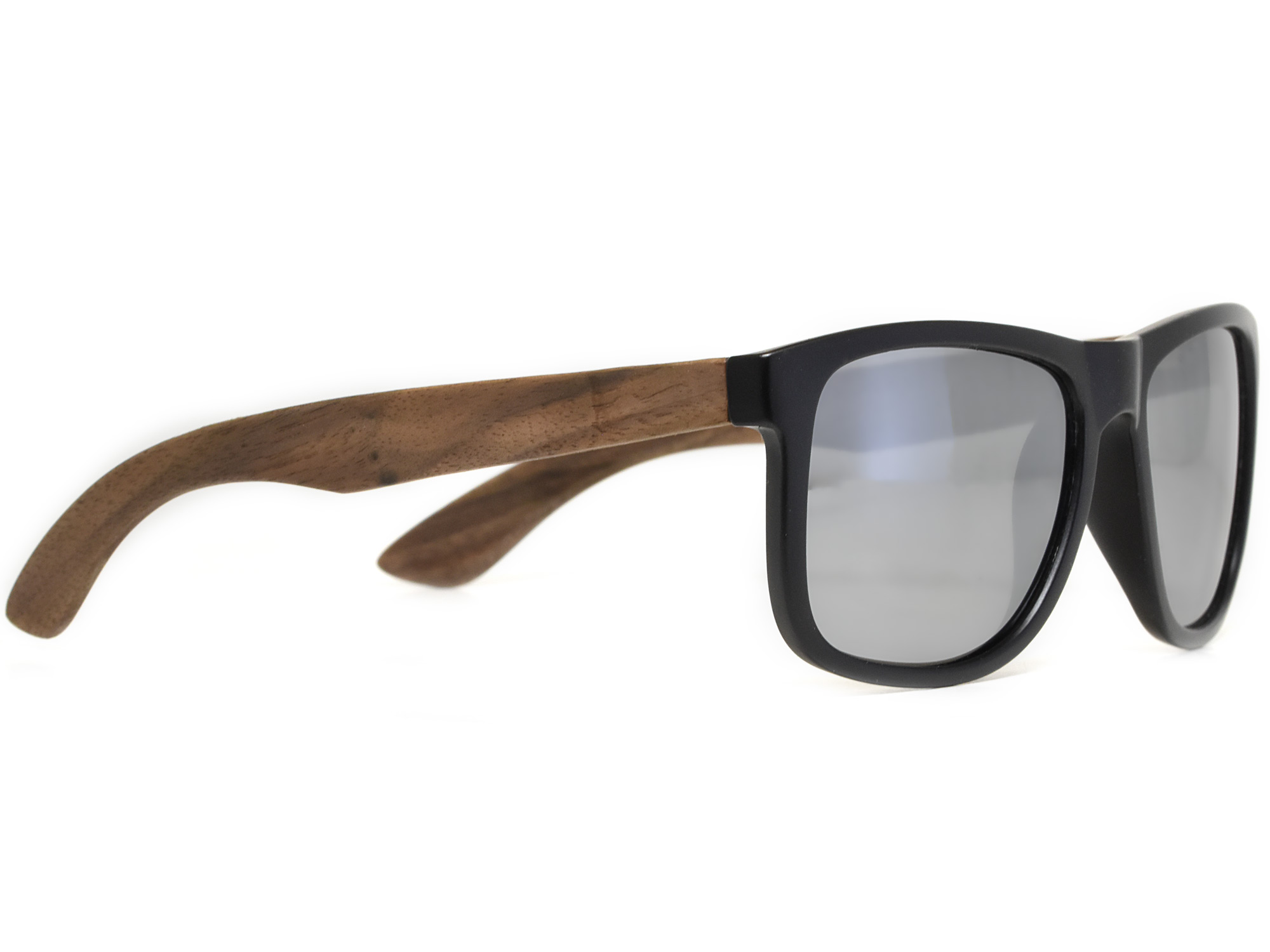 Square walnut wood sunglasses with silver mirrored polarized lenses right