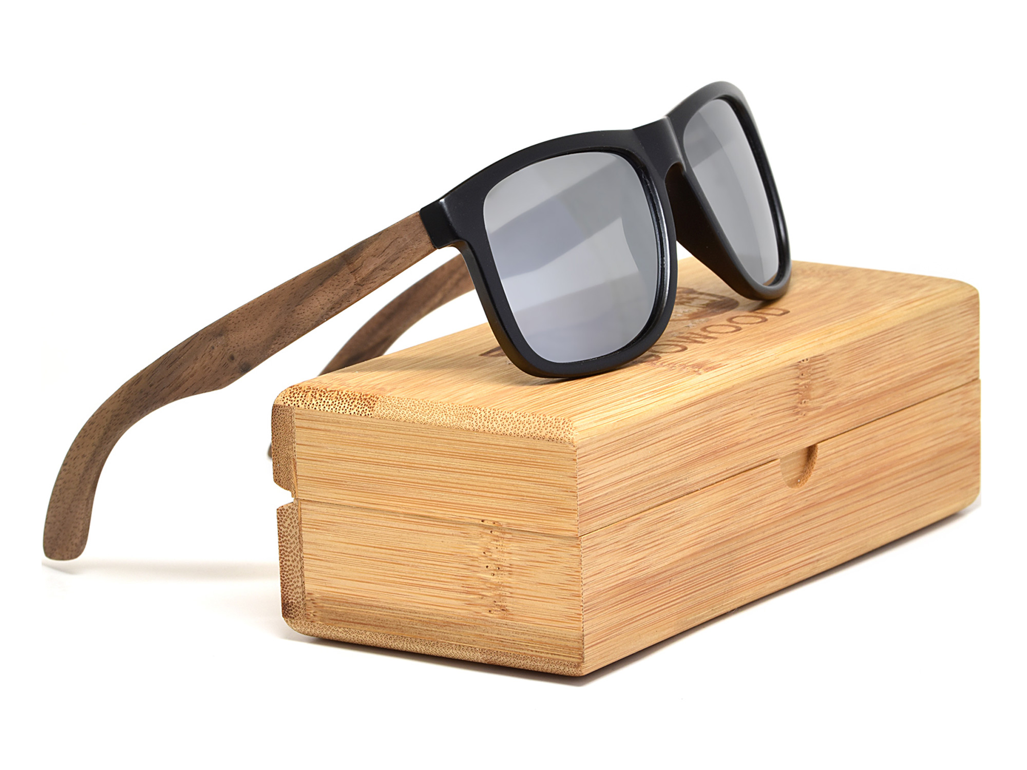 Square walnut wood sunglasses with silver mirrored polarized lenses set