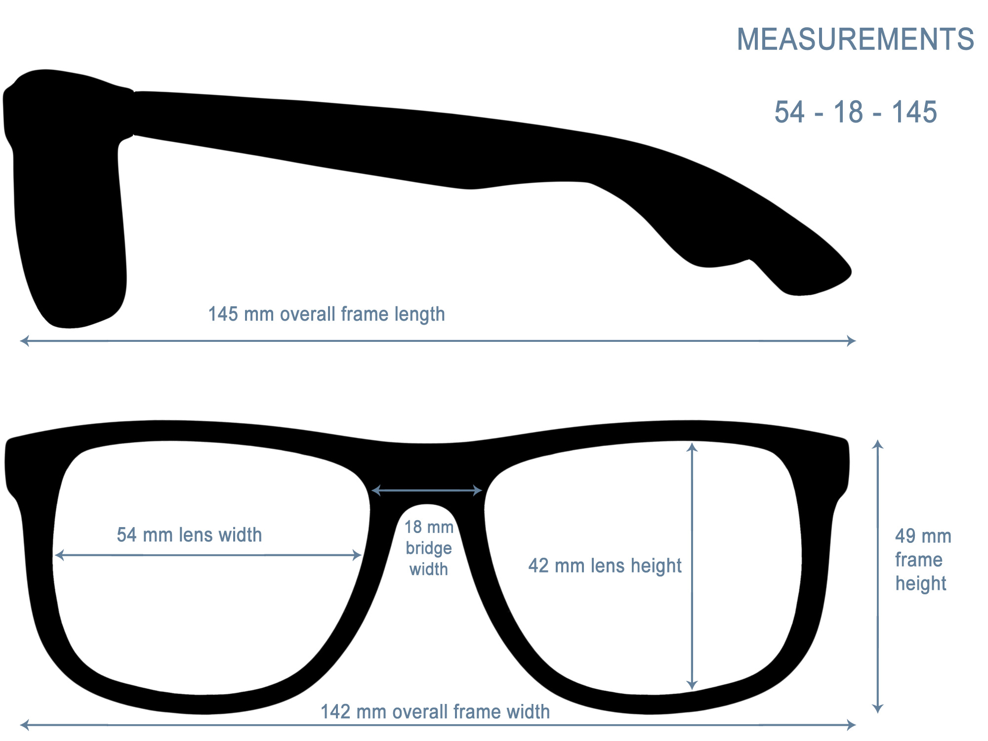 Square wood sunglasses measurements