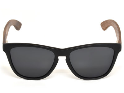 Classic walnut wood sunglasses with black polarized lenses