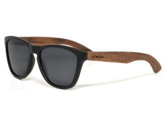 Classic walnut wood sunglasses with black polarized lenses