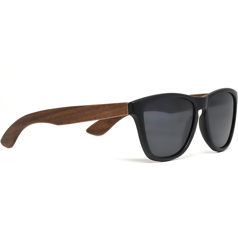 Classic walnut wood sunglasses black polarized lenses