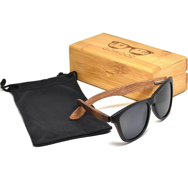 Classic walnut wood sunglasses black polarized lenses set