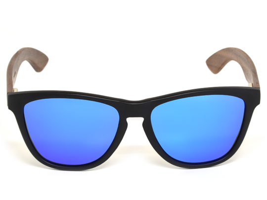 Classic walnut wood sunglasses with blue mirrored polarized lenses