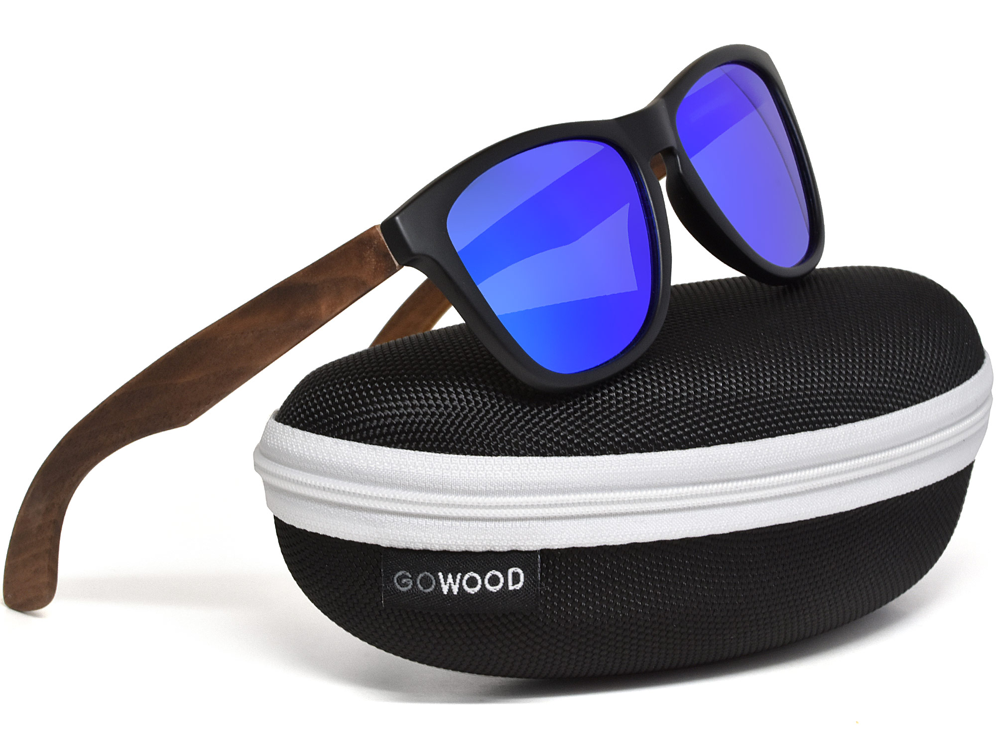Classic walnut wood sunglasses with blue mirrored polarized lenses in zipper case