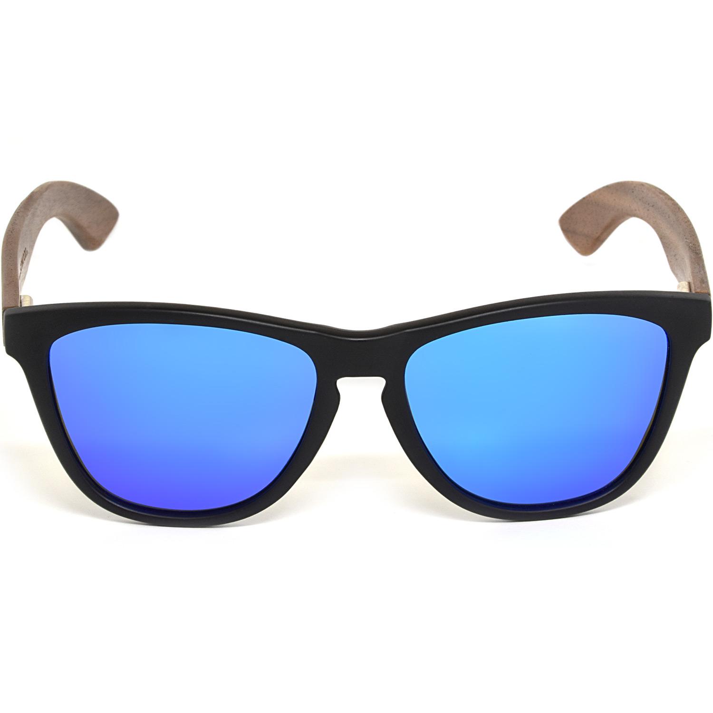 Classic walnut wood sunglasses blue mirrored polarized lenses