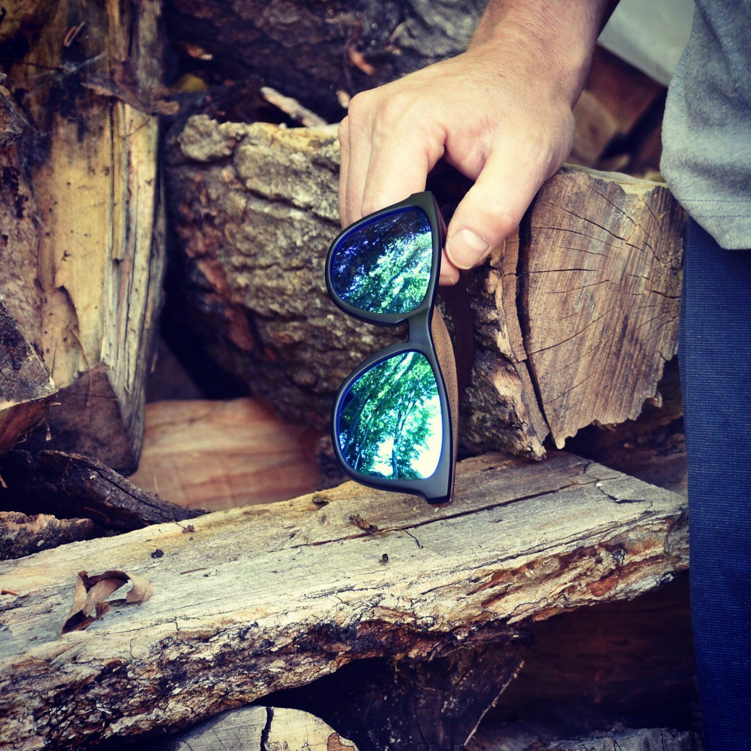 Classic walnut wood sunglasses blue polarized lenses