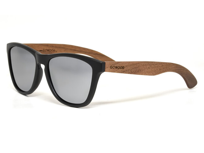 Classic walnut wood sunglasses with silver mirrored polarized lenses