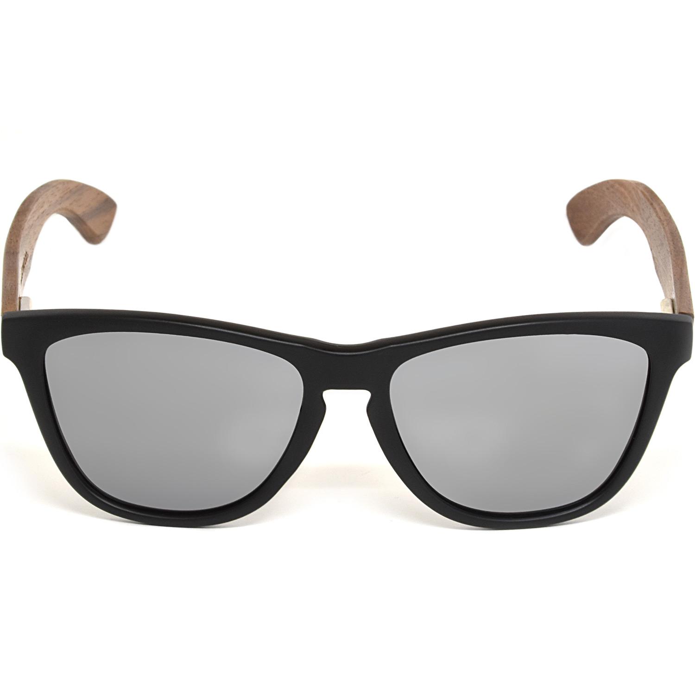 Classic walnut wood sunglasses silver polarized lenses