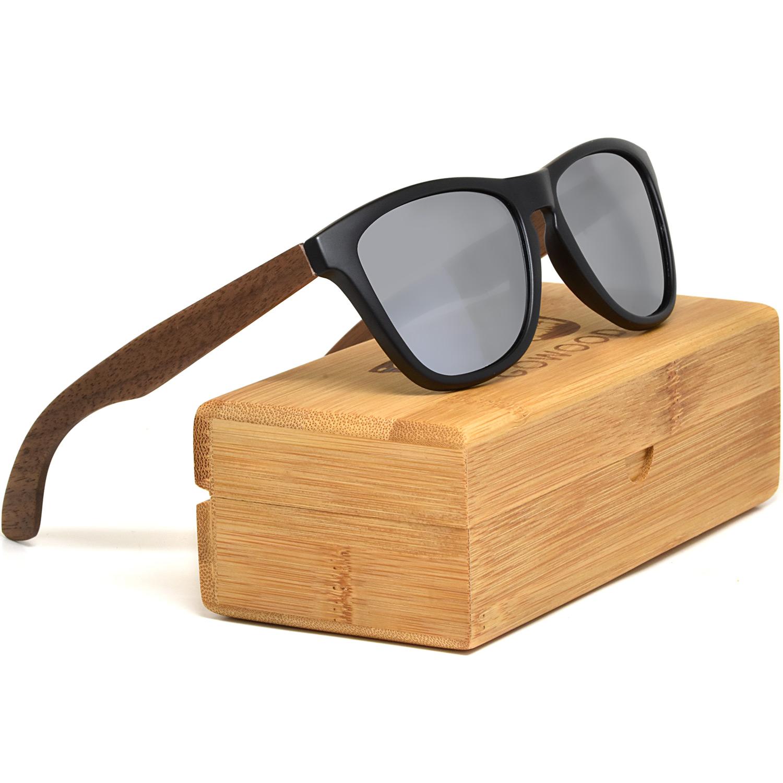 Classic walnut wood sunglasses silver mirrored polarized lenses