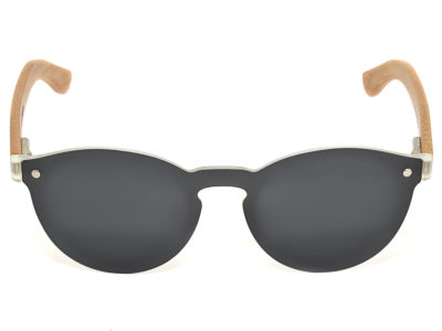 Round bamboo wood sunglasses with dark grey polarized lens