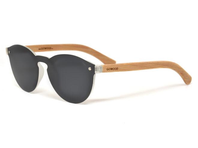Round bamboo wood sunglasses with dark grey polarized lens