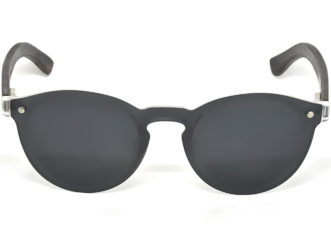 Round ebony wood sunglasses with dark grey polarized lens