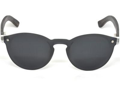 Round ebony wood sunglasses with dark grey polarized lens